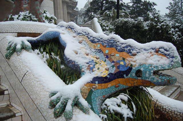 Gaudi park under snow