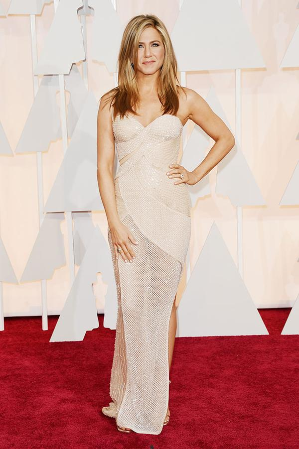 Jennifer Aniston Versace Oscars 2015